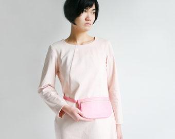 Kleine Flache Gürteltasche echt Leder Rosa,  kleine Hüfttasche mit Gürtel