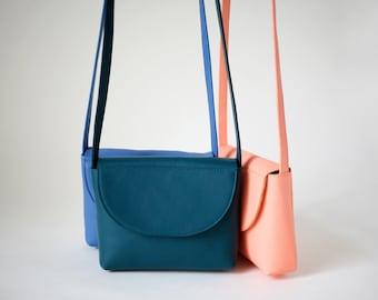 Minimalistic Crossbody Bag Teal Leather, small satchel bag, handbag, leather purse, 11 colors available