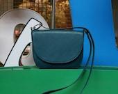 Crossbody Saddle Bag Teal Leather, minimalistic shoulder bag
