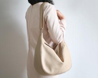 Crossbody Bag BANANA Cappuccino, Leather shoulder bag, crossbody bag, pouch bag
