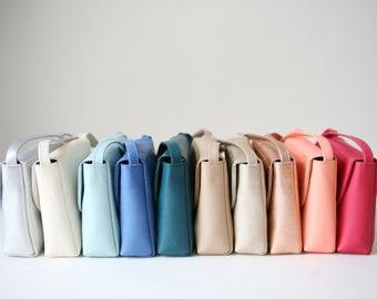 Minimalistic Crossbody Bag Raspberry Sorbet Leather, small satchel bag, handbag, leather purse, 11 colors available