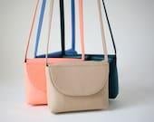 Minimalistic Crossbody Bag Cappuchino  Leather, small satchel bag, handbag, leather purse, 11 colors available