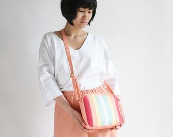 Medium Crossbody Zip Bag M SORBET, striped leather purse, shoulder bag, cross body purse, colorful handbag