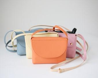Mini Crossbody Tangerine Leather, crossbody bag, evening Bag, small leather bag, bridal bag, leather purse, evening handbag