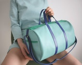 duffel bag tricolor, big shoulder bag, travel bag, overnight bag, leather weekender, mens travel bag, womens duffle bag