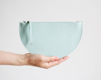 Mini Half Moon Clutch and Crossbody Bag Cobalt Mint, Bridal Bag, Leather Clutch, Evening Bag, Clutch bag