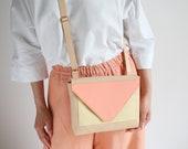 Tricolor Crossbody Bag, satchel bag, handbag, leather purse, colorful cross body purse, box bag, shoulder bag