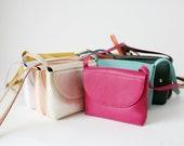 Minimalistic Crossbody Bag Fuchsia Leather, small satchel bag, handbag, leather purse, 11 colors available