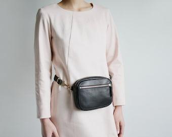 Fanny Pack, Crossbody Bag, Multi-Functional Hip Bag and Crossbody, Utility Bag, Leather Zipper Belt Bag Black, Leather Purse