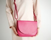 Crossbody Saddle Bag Fuchsia Leather, minimalistic shoulder bag