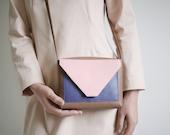 Crossbody Bag Tricolor, small satchel bag, handbag, leather purse, colorful cross body, box bag