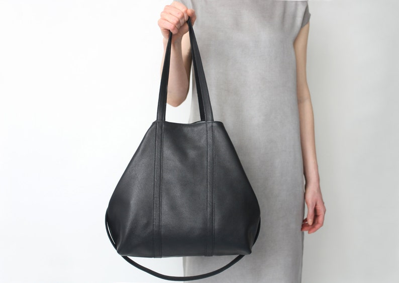 Leather Shopper Big Multi-functional Leather Tote Black with image 0