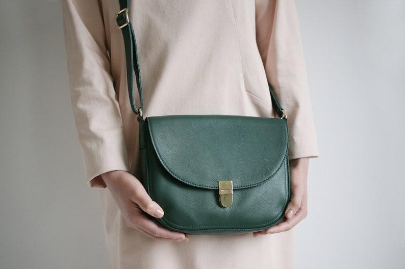 Saddle Bag Forest Green crossbody buckle bag minimalistic image 0