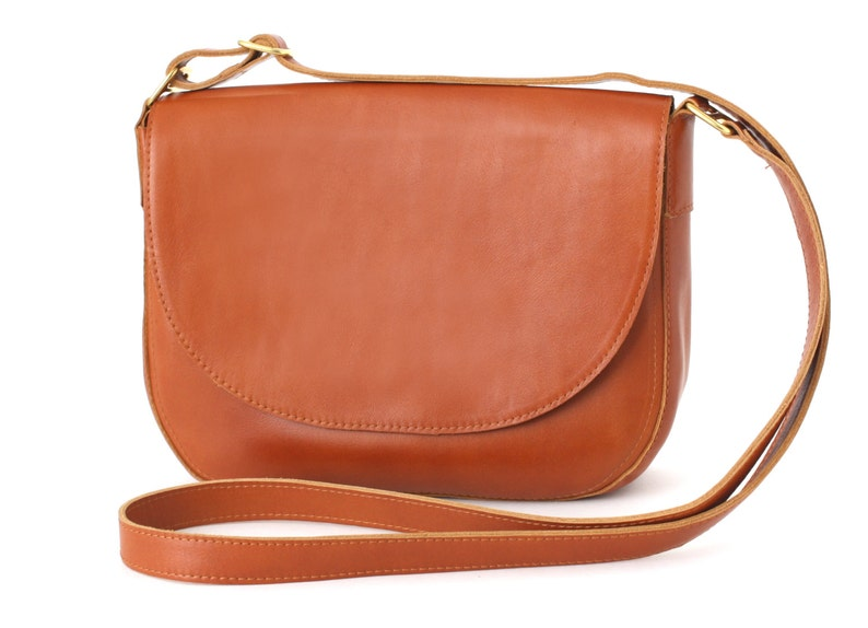 Crossbody Saddle Bag Cognac Brown minimalistic shoulder bag image 0