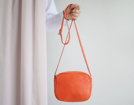 Crossbody Zip Bag Tangerine Leather Small Leather Purse   Etsy 74783f74be