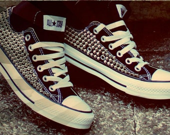 33058a8609a Studded Converse Shoes, Custom Studded Converse Chuck Taylor All Star Shoes  (ALL 4 SIDES STUDDED)