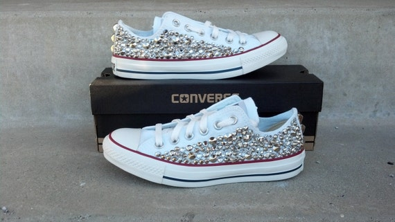 Custom Studded Converse, Swarvoski Rhinestone and Spike Studded Converse Shoes