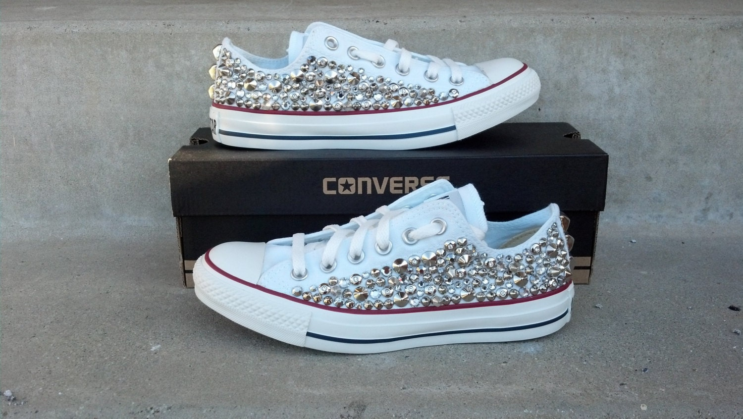 Custom Studded Converse Swarvoski Rhinestone and Spike  4d6036ca0