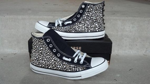 Custom clouté Converse, strass Swarvoski et Spike clouté chaussures Converse