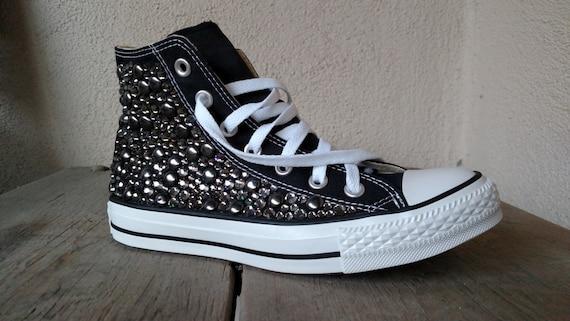 Custom Studded Converse, Black Diamond Swarvoski Rhinestone Studded Converse Shoes