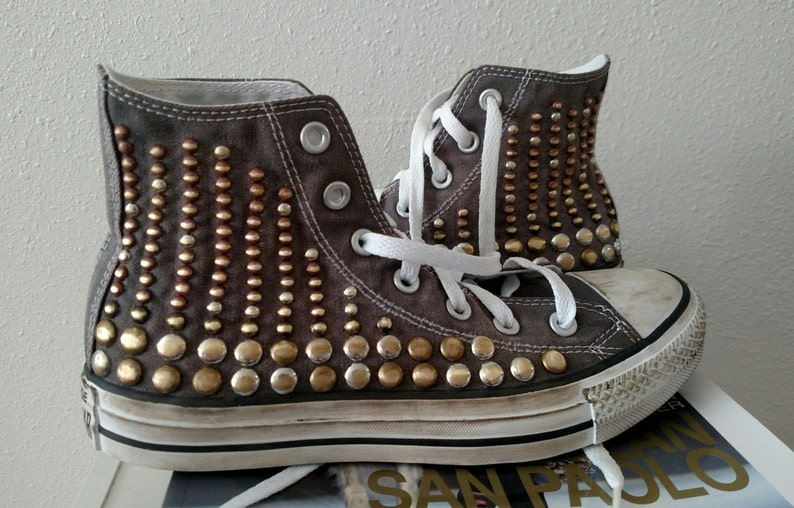 Studded Converse Shoes Vintage Created Custom Studded  b0e0a8db7