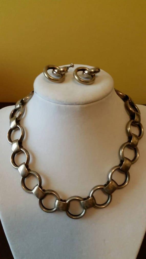 Napier Deco Circles Necklace/Earrings