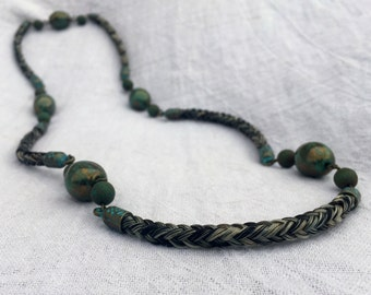 Horse Hair Necklace with Turquoise/Green Stone Picasso Beads