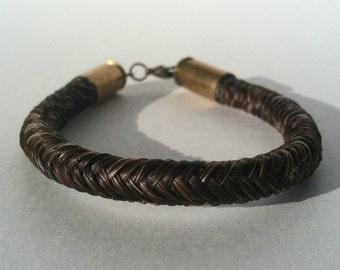 Horse Hair Bracelet with Bullet Shell Casing End Caps, Chunky Bracelet, Manly Bracelet