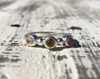 Sterling Silver and Rainbow Tourmaline Ring