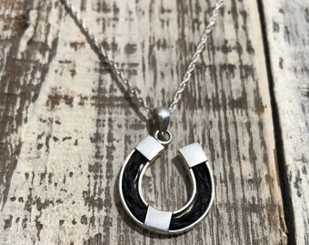 Horseshoe Horse Hair Sterling Silver Necklace | Hanging Silver Pendant | Memorial Necklace | Pet Memorial | Equestrian Necklace