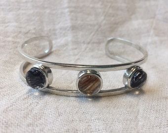 Sterling Silver Cuff Bracelet with Horsehair Under Glass