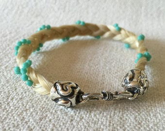 Horse Hair Keepsake Bracelet with Sterling Silver Findings and Turquoise Czech Glass Fire Polished Beads