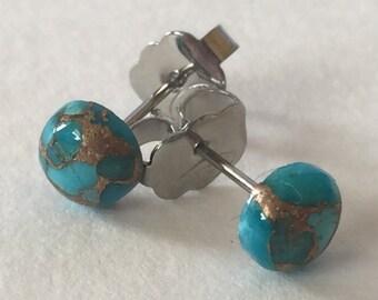 Blue Copper Turquoise 6mm Hypoallergenic Stud Earrings