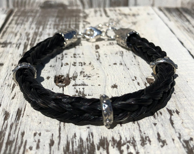 Featured listing image: Custom Horse Hair Bracelet with Sterling Silver Sliders