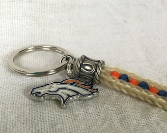 Denver Broncos-Themed Horse Hair Keychain