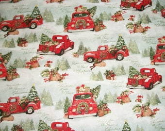 Christmas Fabric 2019.Red Truck Susan Winget Fabric Patriotic Americana Fabric By