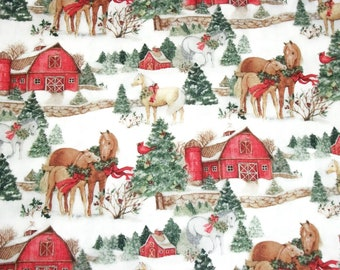 susan winget fabric christmas fabric winter fabric by the yard quilting sewing fabric horse barn fabric novelty fabric country fabric - Christmas Horse Yard Decorations