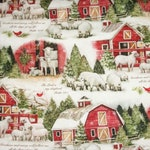 Susan Winget Fabric, Christmas Fabric, Winter Fabric, Barn Fabric, By The Yard, Quilting Sewing Fabric,  2019 NEW FABRIC, Novelty Fabric