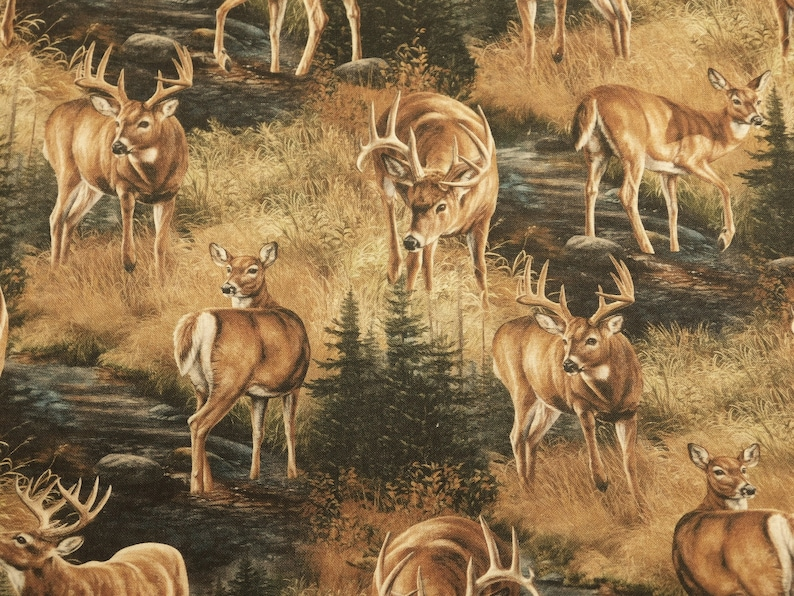 Wildlife Fabric By The Yard Novelty Fabric Nature Fabric Springs Creative Fabric Deer Fabric Sewing Crafting Fabric Lodge Fabric