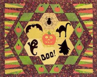 Quilt Pattern, Halloween Wall Hanging, Pumpkin Quilt, Wall Art Pattern, Applique Wall Hanging Pattern, Halloween Pattern, PATTERN ONLY