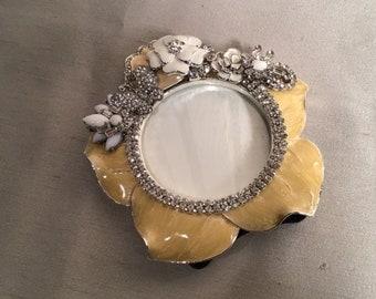 housewarming one of a kind Yellow enamel flower jeweled frame birthday milkglass jeweled frame clear rhinestone 3 x 3 photo baby gift