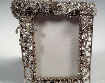 photo frame, silver, 4 x 6 picture, jewel encrusted, dazzling rhinestones, artisan, one of a kind, bridal shower gift, wedding, birthday