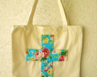 Floral Cross Tote