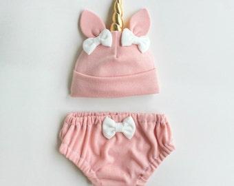 Unicorn Baby Hat bloomers Set Pink    newborn baby clothes    baby girl    baby shower gift   unicorn baby    baby girl set    newborn photo