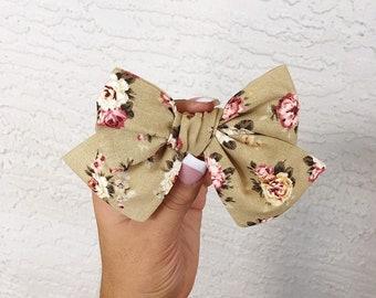 Tan floral vintage pinwheel bow