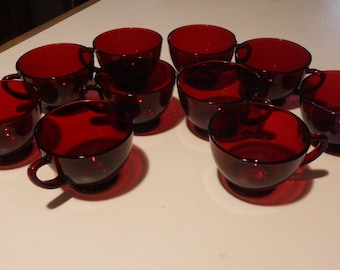 10 Ruby Red Punch Cups