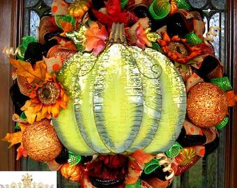 Pumpkin wreath, fall wreath, thanksgiving wreath, Halloween wreath, autumn wreath, pumpkin wreath, thanksgiving decor, fall decor