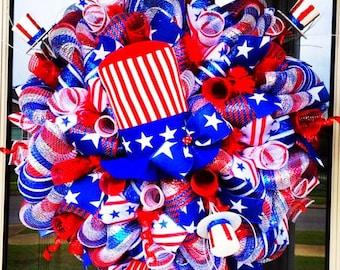 Patriotic Uncle Sam Wreath, 4th of july wreath, summer wreath, memorial day wreath, patriotic wreath, patriotic door hanger, uncle sam
