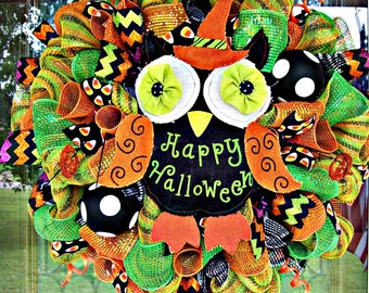 Halloween wreath, Halloween decor, wreath, deco mesh wreath, owl, owl decor, owl wreath, fall wreath, owl halloween wreath, fall decor
