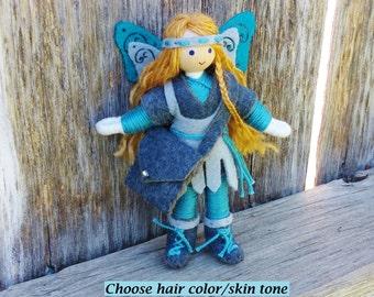 Fairy Doll - Tooth Fairy - Warrior Princess - Fairy Princess - Bendy Doll - Waldorf Doll - Fairy - Blue - Gray - Blonde Hair - OOAK